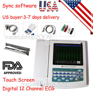 Contec Ecg1200g Digital 12 Channel lead Ekg pc Sync Software Electrocardiograph