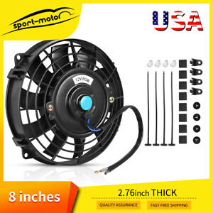8 In Universal Slim Cooling Fan Push Pull Engine Radiator 80w 1350cfm Mount Kit