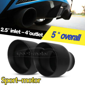 2pcs Dual Wall 2 5 Inlet 4 Outlet 5 Inch Long Exhaust Tip Angle Cut Black S s