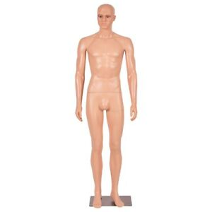 6 Ft Male Full Body Mannequin Plastic Realistic Makeup Manikin With Metal Stand