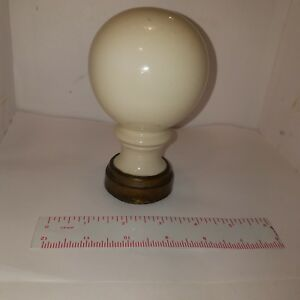 Victorian White Porcelain Newel Post Finial 3 25 D X 5 5 H X2 Base No Crazing