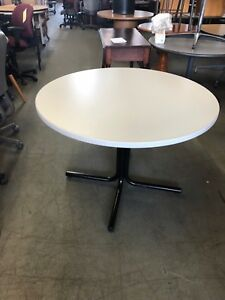 42 Round Cafeteria Table By Hon Office Furniture W Gray Finish Laminate Top