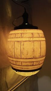 Vintage Large Mid Century Glass Oak Wood Barrel Hanging Ceiling Lamp Light