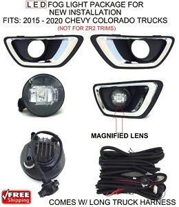 New Bright Led Fog Lights Kit For 2015 16 17 18 Chevy Colorado Truck Harness