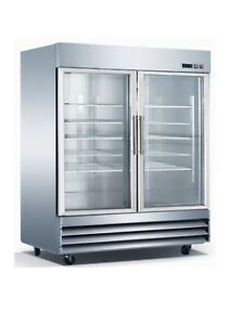 Two Glass Door All Stainless Steel Heavy Commercial Refrigerator Bottom Mount