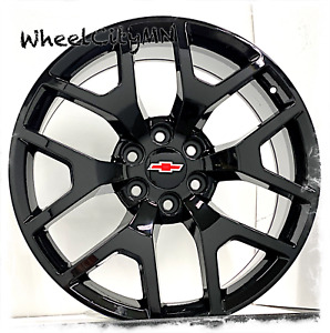 22 Inch Gloss Black 2015 Gmc Denali Oe Replica Wheels Chevy Silverado Ltz 6x5 5