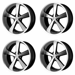 4x American Racing Vn701 Nova Gloss Black Machined 5x5 127 F R Wheels 22x9 22x11