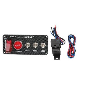 Carbon Ignition Switch Panel Engine Start Push Button Led 12v Toggle Racing Auto