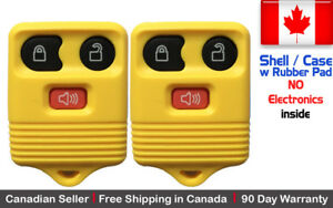 2x New Replacement Keyless Entry Yellow Remote Key Fob For Ford Shell Case