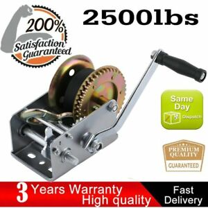Hand Winch Heavy Duty Nylon Strap Boat Trailer 2500lbs 2 Gear Hand Crank Usa