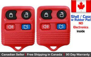 2x New Replacement Keyless Entry Red Remote Key Fob For Ford Shell Case