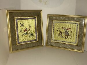 2 Vintage Chinese Silk Embroidery Panels Bird Floral And Still Life Framed Art