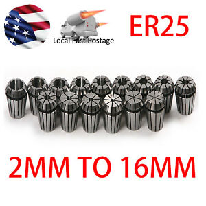 15pc Er25 Spring Collet Set 2mm To 16mm For Cnc Milling Lathe Engraving Tool
