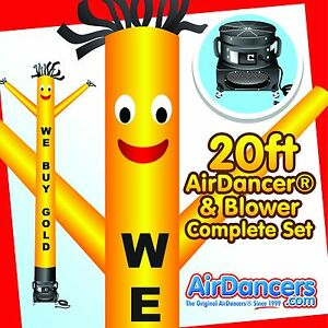 Yellow We Buy Gold Air Dancer Blower 20ft Inflatable Sky Dancer Set