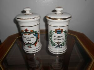 2 Vintage Apothecary Pharmacy Porcelain Jar Vessel