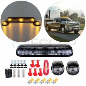 3pcs Clear Roof Top Lights Lens W 194 Amber Led For Chevy Silverado gmc Sierra