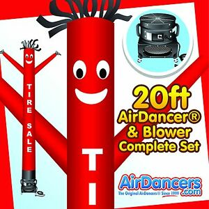 Red Tire Sale Airdancer Blower 20ft Inflatable Tube Man Air Dancer Set