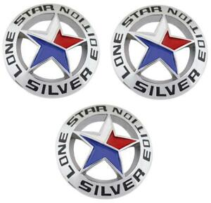 3 Lone Star Silver Edition Texas Emblem Universal Stick On Truck Badge 3d Decal