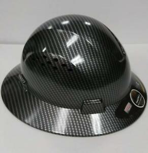 Hydro Dip Black Full Brim Hard Hat Cool Air Flow Full Brim Plastic Head Protect