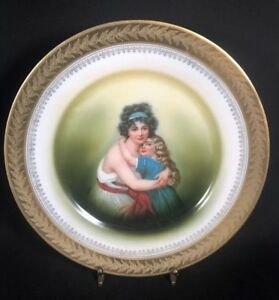 Bavarian Portrait Plate Woman And Girl Pm M Sevres Antique Plate Hp 9a
