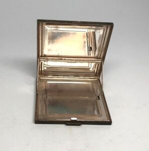 Antique Sterling Silver Compact Make Up Mirror Case Patented Engraved 3 X 3