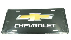 Chevrolet Bow Tie Chevy Licensed Black Aluminum Metal License Plate Sign Tag
