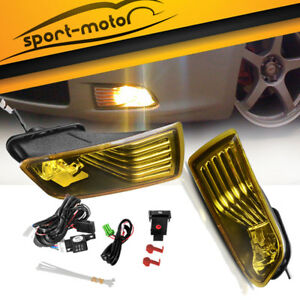 For 05 10 Scion Tc Yellow Front Bumper Fog Light Lamps W Bulbs Wiring Left Right