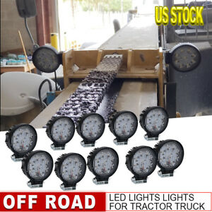 10pcs 27w Led Work Spot Round Light Bar 12v For Off Road Truck Boat Farm Tractor