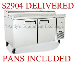 Pizza Sandwich Prep Table 67 Inch 2 Door Cooler With Cutting Board 5ft 7 Nsf