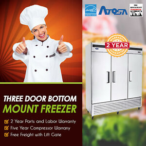 Atosa Usa Mbf8504 82 Three Door Reach in Freezer Restaurant Equipment