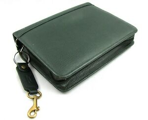 Franklin Covert Quest Green Pebbled Top Grain Leather Planner Zip Binder Classic