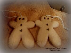 Primitive Country Resin Christmas Gingerbread Men Ornaments 4 Set Of 2