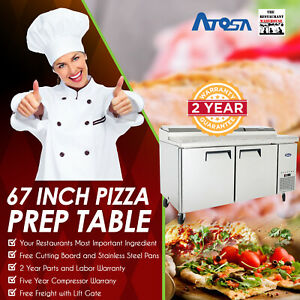 Atosa Mpf8202 67 Two Door Refrigerated Pizza Prep Table Restaurant Equipment