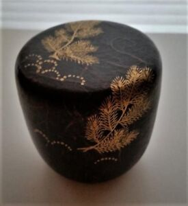 Japanese Lacquered Wood Tea Caddy Natsume With Pine Design And Signed Box