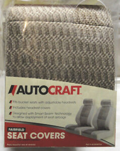 Autocraft 2 pc Brown Bucket Seat Covers For Seats W Removable Headrests New