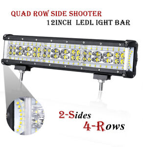 12inch Quad Row Led Light Bar Side Shooter Driving Lamp Offroad Tractor Atv 300w