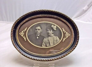 Vintage Edwardian Or Victorian Oval Picture Frame Beaded Rim Mat