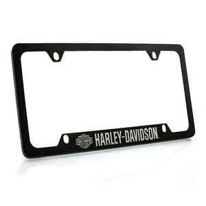 Harley Davidson Black Powder Coated License Plate Frame With Bar