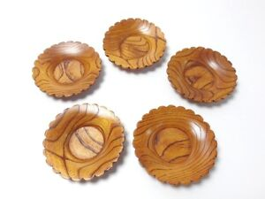 Japanese Antique Vintage Lacquer Wood Chataku Saucer Coaster Set Chacha