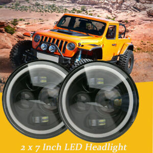2x 7 Led Halo Angel Eyes Headlights Projector 60w For Jeep Wrangler Jk Tj Cj5 7