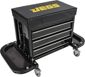Toolbox Top Side Roller Seat Tool Box Chest Cabinet Creeper Swivel 3 Drawers