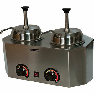 Pro deluxe Dual Countertop Food Electric Condiment Warmer 2 Pump Dispensers