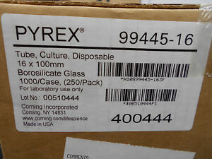 Pyrex 99445 16 Borosilicate Glass Culture Tubes 16 X 100mm 1000 cs