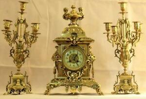 Antique French Japy Freres 8 Day Striking Rococo Candelabra Garniture Clock Set