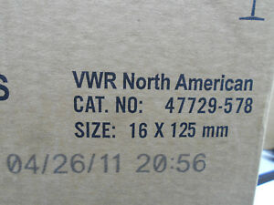 Vwr 47729 578 Borosilicate Glass Culture Tubes 16 X 125mm 1000 cs