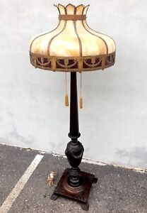 Heavily Carved Victorian Mahogany Floor Lamp