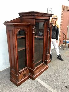 1870s Renaissance Revival Walnut Bookcase Carved