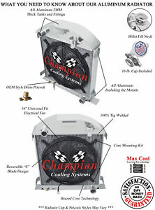 4 Row Ar Champion Radiator W 16 Fan For 1928 1929 Ford Model A Chevy Config
