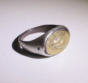 Lovely Ancient Roman Silver And Gold Ring Circa 2nd Century Ad
