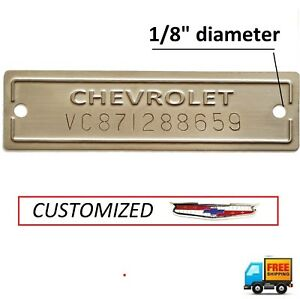 Chevrolet Vin Plate Chevy Tag Serial Number Data Id 1953 1963 Replacement Stamp